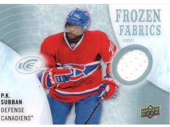 2014-15 Upper Deck Ice Frozen Fabrics #FZF-SU P.K. Subban Jersey Canadiens - Kalmar / Sweden - 2014-15 Upper Deck Ice Frozen Fabrics #FZF-SU P.K. Subban Jersey Canadiens - Kalmar / Sweden