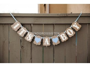 Vintage Stil Baby Party Banners - It's A Boy Fri Frakt Ny