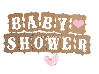 Vintage Stil Baby Party Banners - Baby Shower Fri Frakt Ny