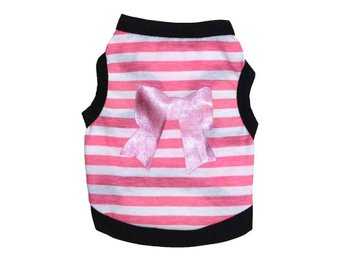 Novelty Summer Stripe Pet Puppy Small Dog Katt Kläder Vest T Shirt Apparel L
