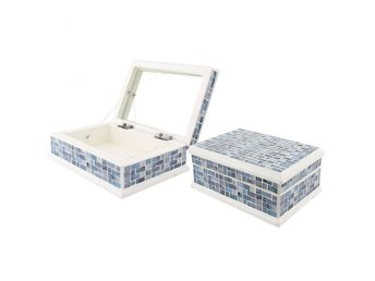 HANDMADE BLUE GLASS MOSAIC  JEWELLERY BOX