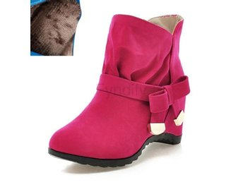 Dam Boots Women Ankle Casual Boots rose red velvet 34