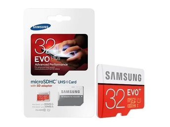 Samsung EVO Plus Micro SD 32Gb 80mb/s Klass 10 BILLIGT! FRI FRAKT!