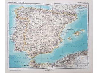 Karta Over Spaniens Vastkust.Antik Karta Over Spanien Mallorca Och Portugal 343032303 ᐈ Kop