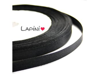 Satinband 7mm svart - rulle 18 meter - sidenband satin band