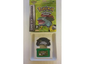 Pokémon Leaf Green i orginalkartong + adapter & trainersguide! Game Boy Advance!