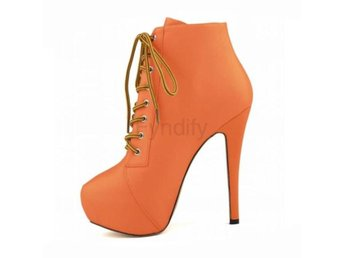 Dam Boots Women's Lace Up Shoes Heeled Footwear Orange 34