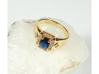 Goldfilled, 18K Guldfylld Ring med blå Safir, 19,8mm