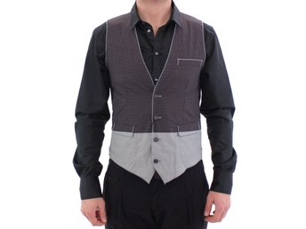 Dolce & Gabbana - Gray Polka Dot Dress Vest Gilet Weste