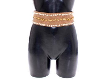 Dolce & Gabbana - Brown Gold Baroque Suede Leather Waist Belt