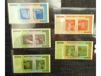 ZIMBABWE 20 BILLION DOLLARS - 100 TRILLION DOLLARS 2008 5 EX OVIKTA