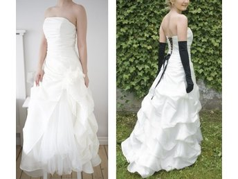 790e9379fb38 EXKLUSIV brudklänning 34/36 - 100% silke bröllopsklänning bröllop tyll  snörning
