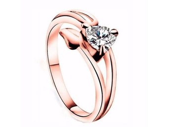 Kvinnor Storlek 8 9K Rose Gold Filled AAA CZ Crooked Heart Ring