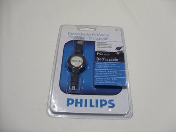 Philips 4/6 Pin Firewire 1394a retractable Cable 1 meter Ny!