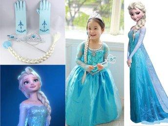 Frost Frozen Elsa klänning tiara handskar hårfl.. (418741175
