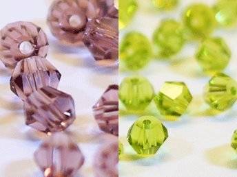 100st Tolstoy 4mm crystal bicone Lilac/Olivine - Duo Mix