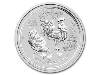 2 oz Lunar Year Of The Rooster 2017 Silvermynt