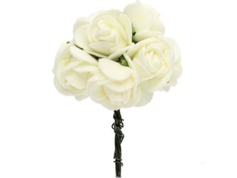 12PCS Bride Bouquet Paper Rose Flowers With Wire Stems We...