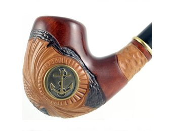 smoking pipe, carving *marin kunglig ankare* - 15,5cm | pipa