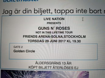 Guns N Roses biljett i Golden circle
