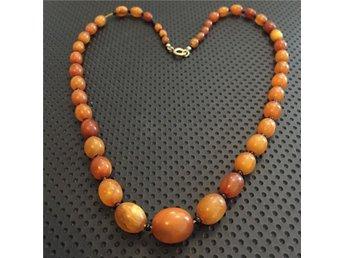 Antik äkta amber halsband bärnsten - Helsingborg - Antik äkta amber halsband bärnsten - Helsingborg