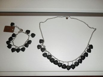 Pearls for girls, set, halsband, armband, svart, hjärtan, nytt
