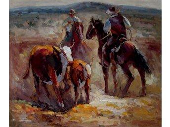Cowboy, oljemålning på duk, 50x60 cm - Tollarp - Cowboy, oljemålning på duk, 50x60 cm - Tollarp