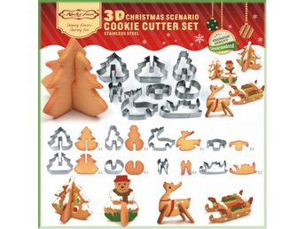 Christmas Scenario Cookie Cutter Set Cake Decoration Biscuit Cutter 8 Pcs NEW