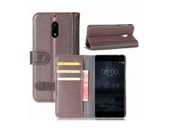 Nokia 6 genuine split leather flip case - Coffee