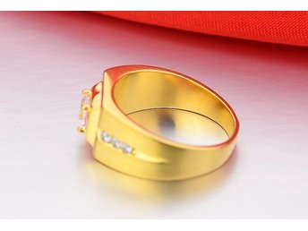 Fashion 18K Gold Plated Silver CZ diamond wedding Rings for Men Vintage Jewelry