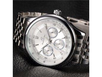 Men's White Dial KS Silver Steel Analog Day Date 24Hrs Display Mechanical Watch - Karlstad - Men's White Dial KS Silver Steel Analog Day Date 24Hrs Display Mechanical Watch - Karlstad