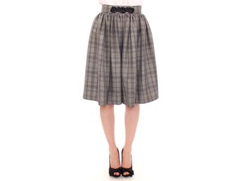 NOEMI ALEMÁN - Gray Checkered Wool Shorts Skirt