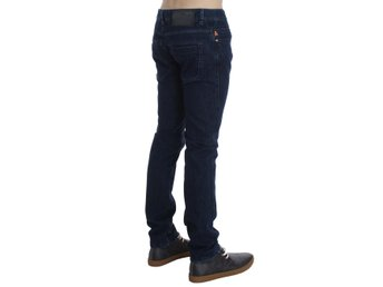 ACHT - Dark Blue Cotton Slim Skinny Fit Jeans