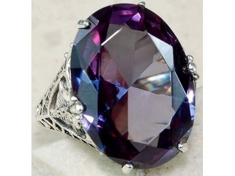 Women Fashion Jewelry 925 silver Amethyst Zircon Ring Size 19