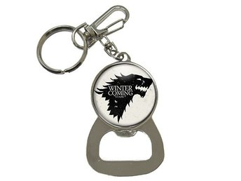 Winter Is Coming Direwolf House Stark Wolves Nyckelring Med Kapsylöppnare Flask