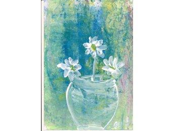 Akvarell, akryl Queen, Blommor i vasen, orginalmålning - Strömstad - Akvarell, akryl Queen, Blommor i vasen, orginalmålning - Strömstad