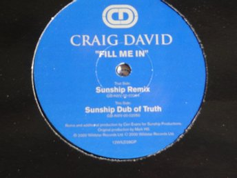 "CRAIG DAVID - FILL ME IN 12"" 2000 R&B CLUB/DANCE"
