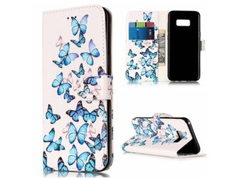 iPhone 5/5s/SE Plånboksfodral Marmor/Marble Texture Wallet case - Blue Butterfly