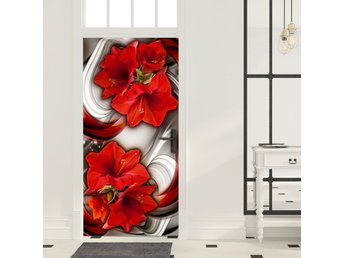Dörrtapet - Photo wallpaper - Abstraction and red flowers I