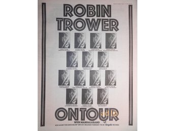 ROBIN TROWER - ON TOUR WITH MANDALABAND, STOR TIDNINGSANNONS 1975