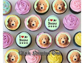 Goldendoodle tårtoblater - Tårtbild - Cupcake / Muffin toppers