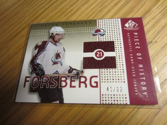 P Forsberg - SP GU Piece of History Authentic Game Used jersey, 99:exare, 2003 - Finspång - P Forsberg - SP GU Piece of History Authentic Game Used jersey, 99:exare, 2003 - Finspång