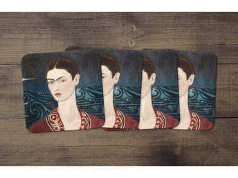 Frida Kahlo Self Portrait Wearing A Velvet Dress Coasters 4 Pack Underlägg