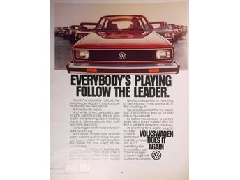 VOLKSWAGEN VW - DOES IT AGAIN, TIDNINGSANNONS 1980