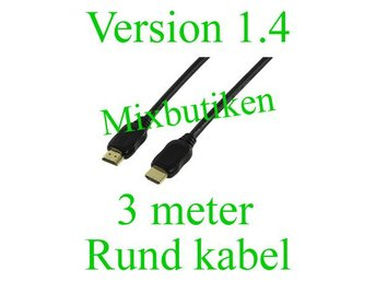 3 meter rund HDMI-kabel. Guldpläterad, High Speed m. Ethernet, Version 1.4