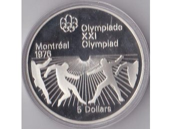 5dollars Fencing OS Montreal 1976 Kanada 1976 Silver 24,3g Proof 82 302ex.