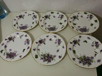 6 Vackra assietter VICKTORIAN VIOLETS bone china hammersley & co made in england