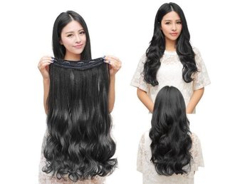 Fashion 3/4 Clip In Hair Extensions with 5 clips long, Curly Black - Kowloon Bay - Fashion 3/4 Clip In Hair Extensions with 5 clips long, Curly Black - Kowloon Bay