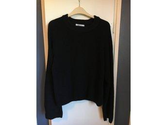 Stickad tröja, vida ärmar, svart, Gina Tricot, storlek L