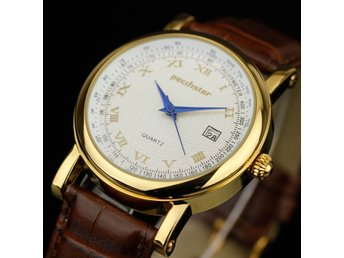 PACIFISTOR Mens Gents Quartz Wrist Watch Date Gold Analog Dress Brown Leather